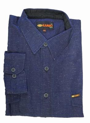 """Heren blouse met lange mouwen """" Kamro """" Blauw met sierwerk"""