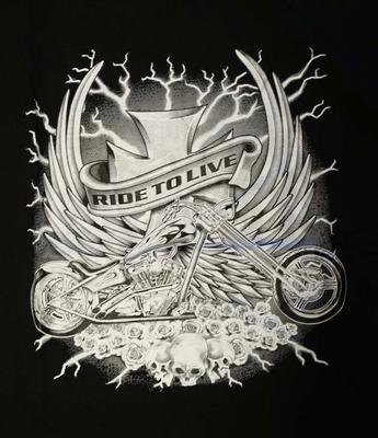 "T-shirt "" Ride to live "" Zwart"