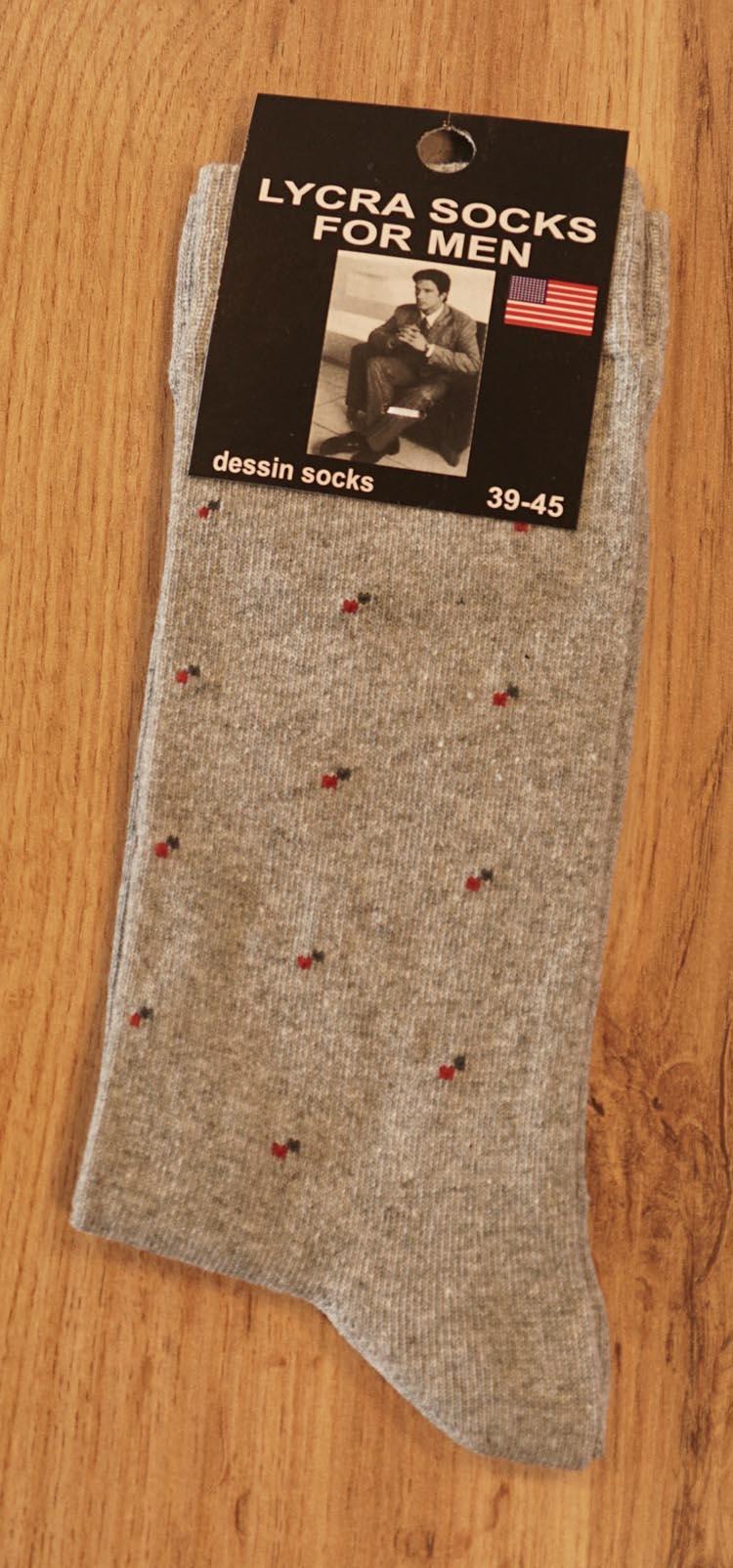 """1 paar heren sokken  """" Figuur""""   Licht grijs"""
