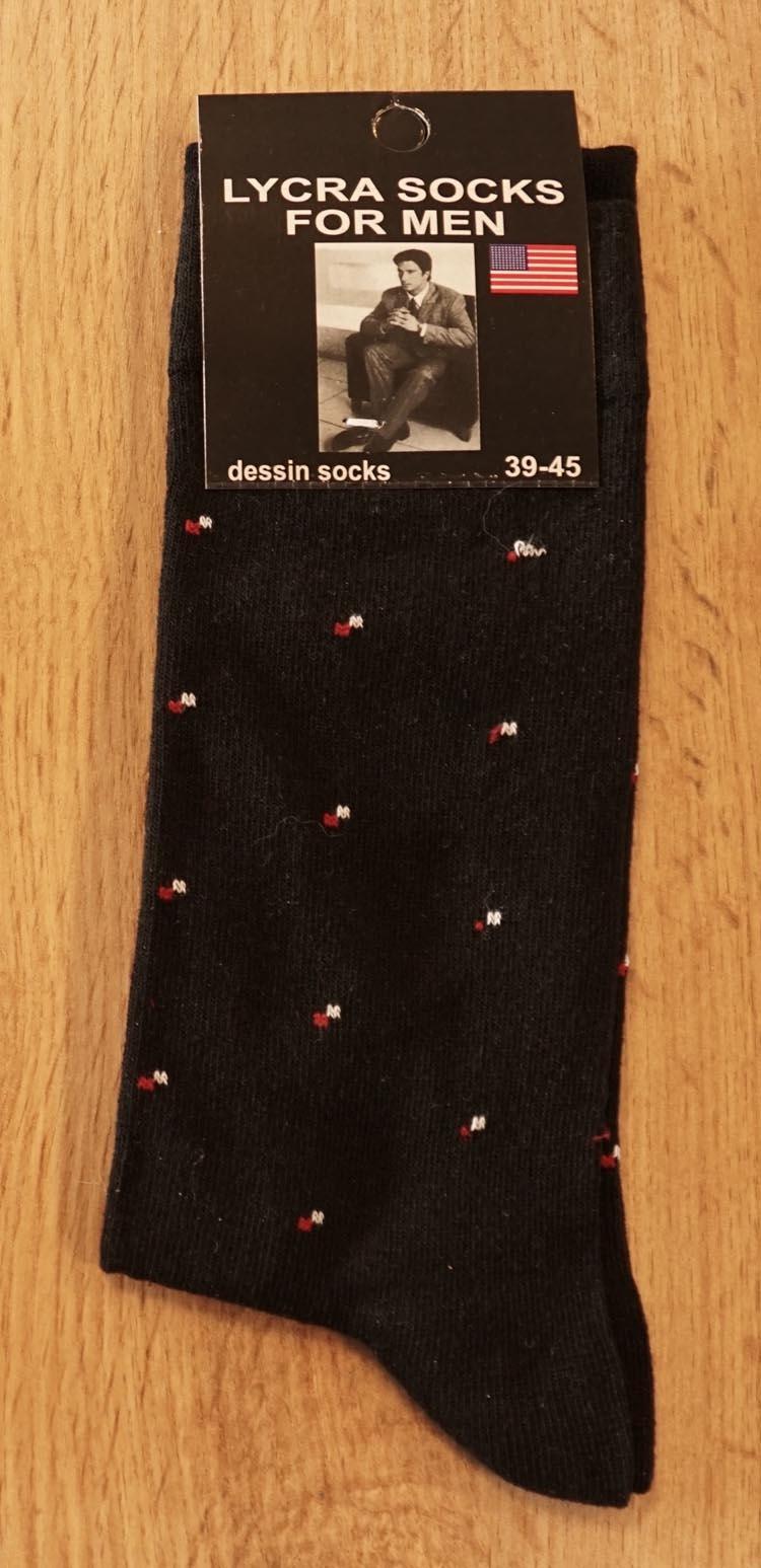 """1 paar heren sokken  """" Figuur""""   Zwart"""