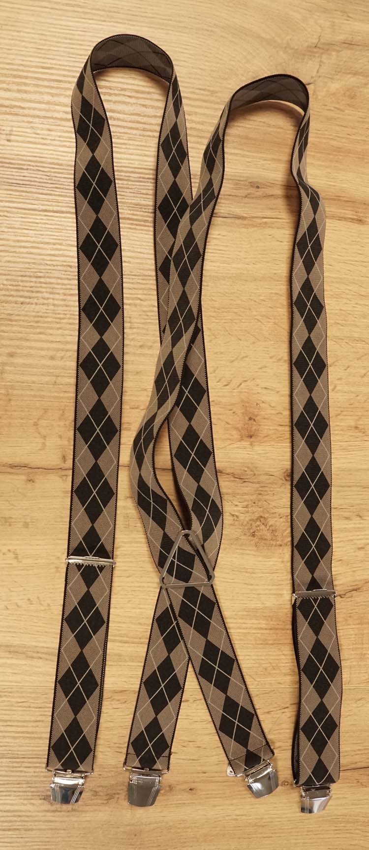 "Bretels 4 -clips  "" Geruit ""  beige / zwart"