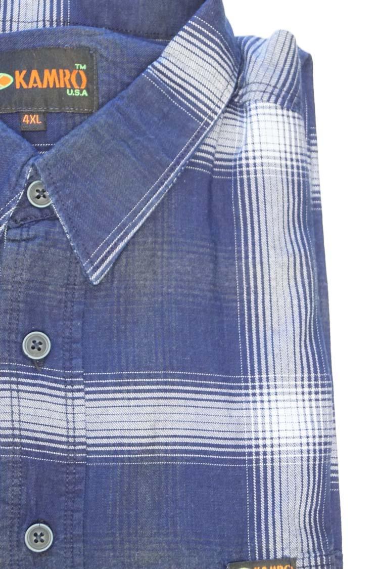 """Heren blouse met lange mouwen """" Kamro """" Geruit blauw / creme"""