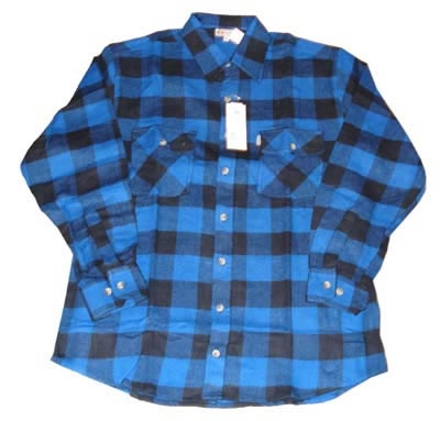 "Houthakkers blouse  ""  Zwart / blauw """