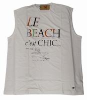 """Mouwloze T-shirt  """" Maxfort """"  Le Beach c'est chic   Wit"""