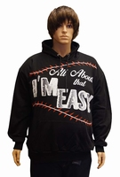"Sweater met Capuchon  "" Au about that i'm easy "" Zwart"