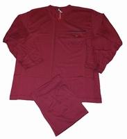 """Grote maten heren pyjama """" Maxfort  """"  V-hals  Bordeaux rood"""