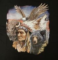 """T-shirt """" Indiaan met wilde dieren """" Zwart"""